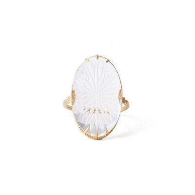 Fashion Oval Natural Quartz 925 Sterling Silver Ring