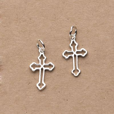 Simple Hollow Cross 925 Sterling Silver DIY Charm