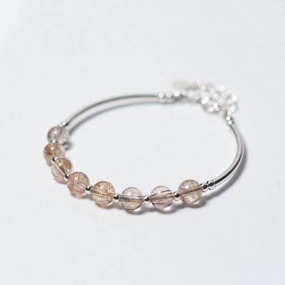 Simple Natural Hair Crystal 925 Sterling Silver Bracelet
