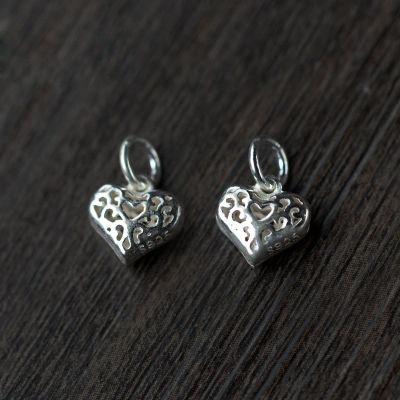 Trendy Hollow Heart 925 Sterling Silver DIY Charm