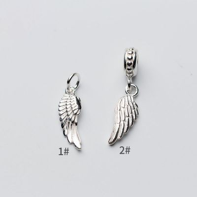 Simple Angel Wing 925 Sterling Silver DIY Charm