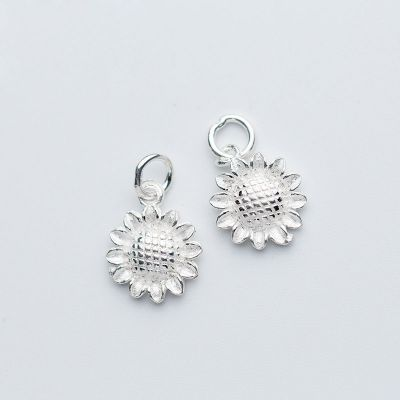 Simple Sunflower 925 Sterling Silver DIY Charm