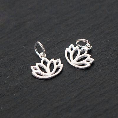Simple Hollow Lotus Flower 925 Sterling Silver DIY Charm
