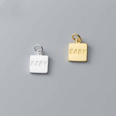 Simple BABY Letters Square Tag 925 Sterling Silver DIY Charms