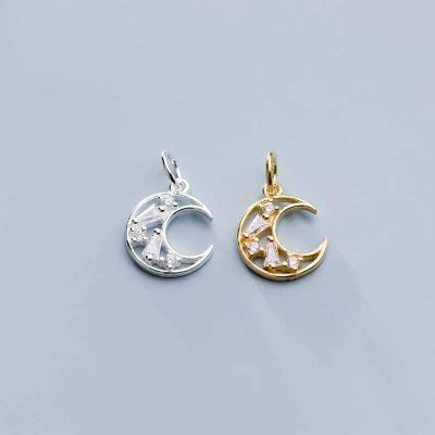 Fashion CZ Crescent Moon 925 Sterling Silver DIY Charms