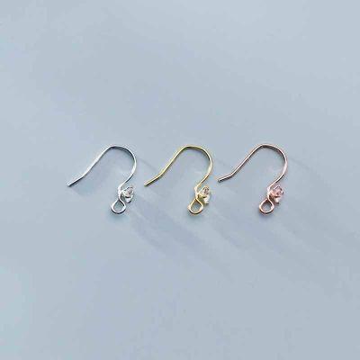 Simple CZ 925 Sterling Silver DIY Earring Hooks
