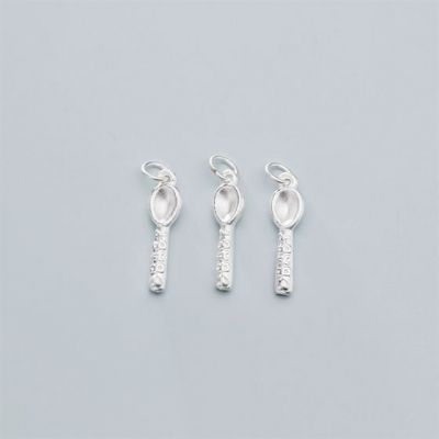 Cute 3D Carved BABY Spoon S999 Sterling Silver DIY Charm
