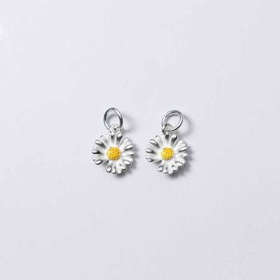 Beautiful Daisy Flower 925 Sterling Silver DIY Pendant