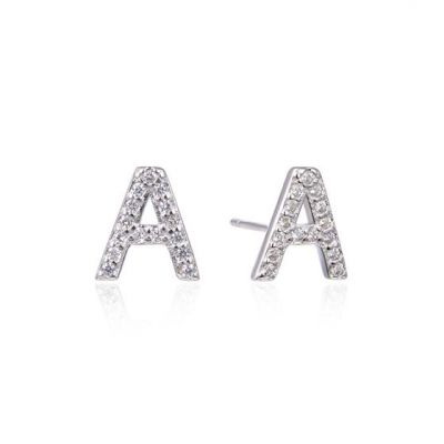 Fashion CZ A-Z 26 Letters 925 Sterling Silver Stud Earrings