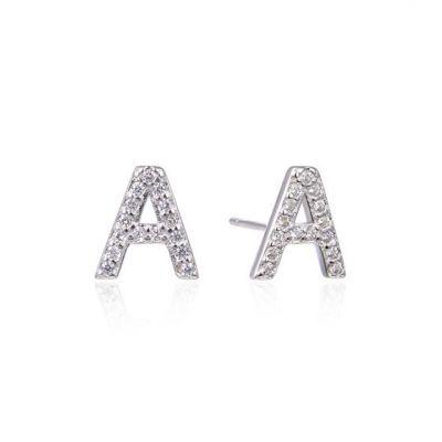 Fashion CZ A-Z 26 Letters 925 Sterling Silver Stud Earrings