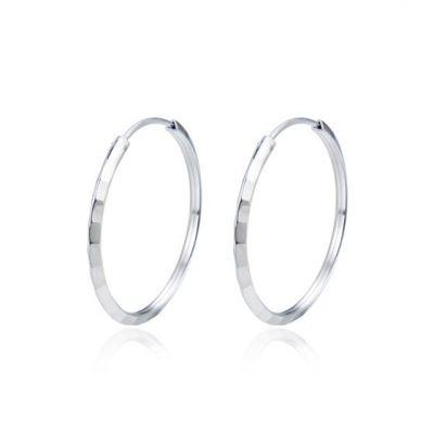 Simple Geometry Circles 925 Sterling Silver Hoop Earrings