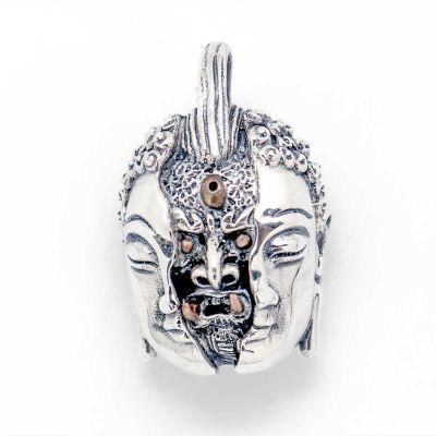 Vintage Buddhism Devil 925 Sterling Silver Men Pendant