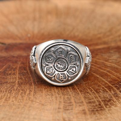 Chinese Letter Oxide Flower 925 Silver Ring Man