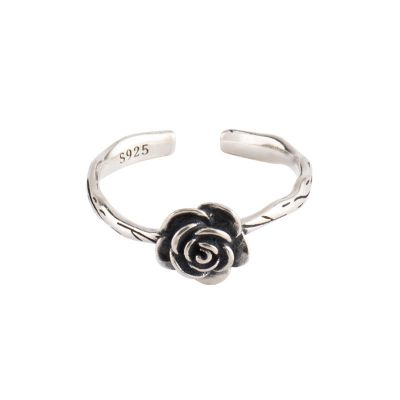 Vintage Rose Flower 925 Sterling Silver Adjustable Ring