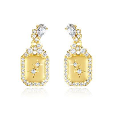 Elegant CZ Geometry Rectangle Stars 925 Sterling Silver Dangling Earrings