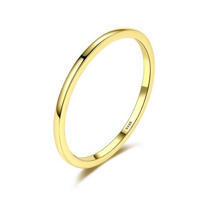 Simple Minimalism 14K Yellow Gold 925 Sterling Silver Ring