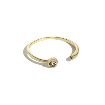 Simple Round CZ Tube 925 Sterling Silver Adjustable Ring