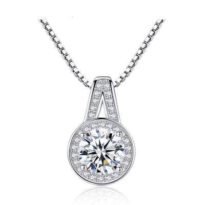 Trendy A Shape Round CZ 925 Sterling Silver Necklace