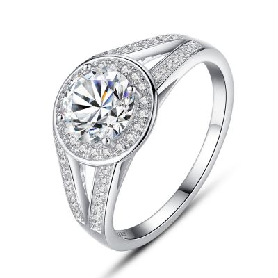 Simple CZ Round Disc 925 Silver Ring