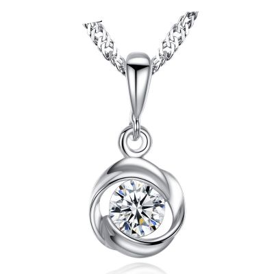 Simple Twisted Round CZ 925 Sterling Silver Necklace