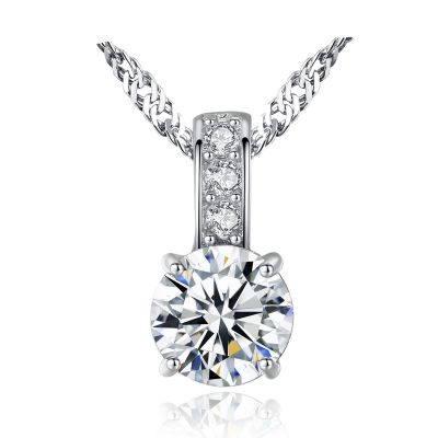 Simple Round CZ 925 Sterling Silver Necklace