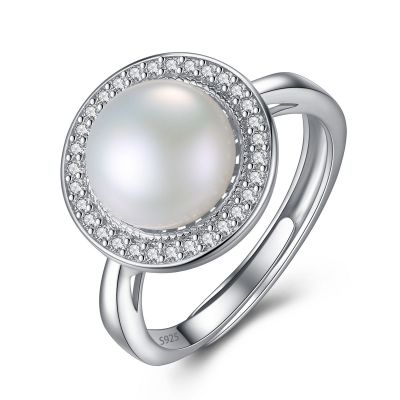 Round CZ Natural Pearl 925 Silver Adjustable Ring