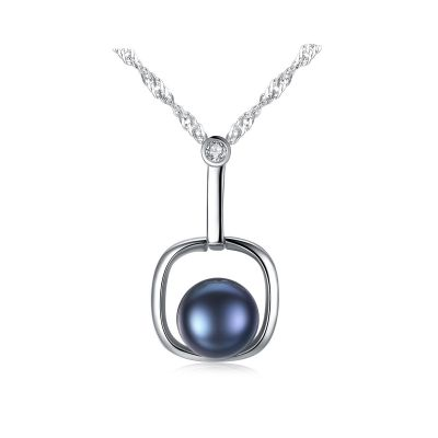 Round Natural Pearl In Square 925 Silver Necklace