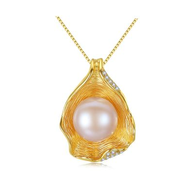 Round Natural Pearl In CZ Shell 925 Silver Necklace