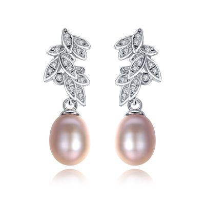 CZ Leaves Natural Pearl 925 Silver Dangling Earrings
