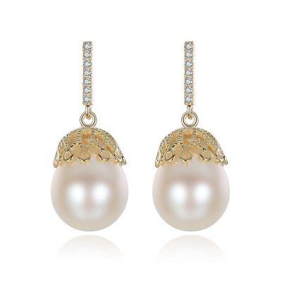CZ Hollow Natural Pearl 925 Silver Dangling Earrings