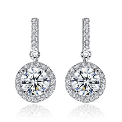 Simple Round CZ 925 Sterling Silver Dangling Earrings