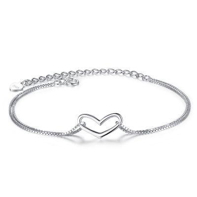 Sweet Hollow Heart 925 Silver Chain Bracelet