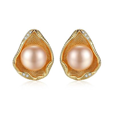 Round Natural Pearl 925 Silver Studs Shell Earrings