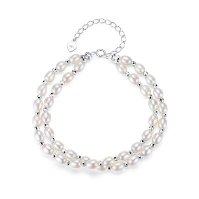 White Double Natural Pearl 925 Silver Bracelet