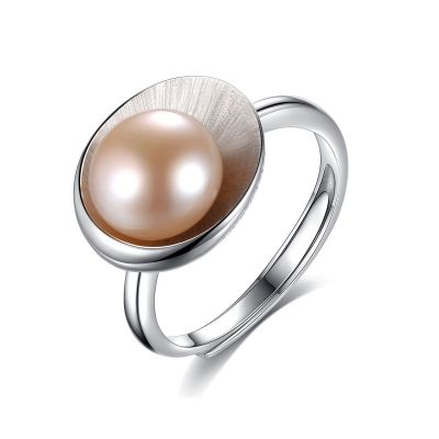 Round Natural Pearl In Shell 925 Silver Adjustable Ring