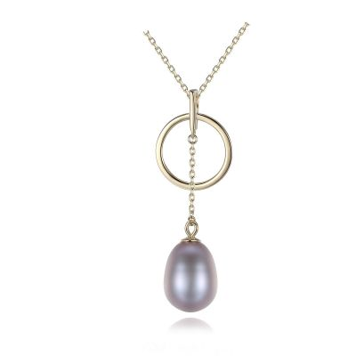 Round Circle Natural Pearl 925 Silver Necklace