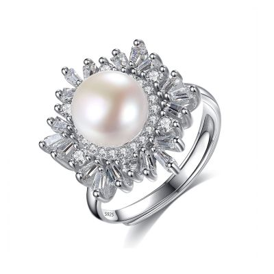 Flower Natural Pearl 925 Silver Adjustable CZ Ring