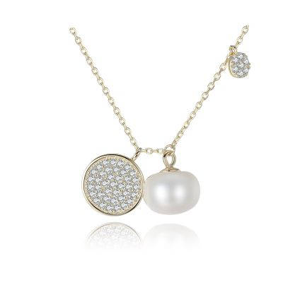 CZ Disc Half-Round Natural Pearl 925 Silver Necklace