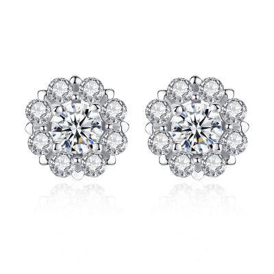 Sweet CZ Flowers 925 Sterling Silver Studs Earrings