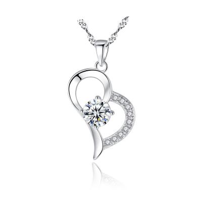 Simple Hollow Heart CZ 925 Sterling Silver Necklace