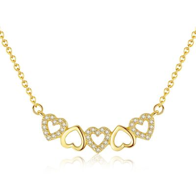Sweet Hollow Heart CZ Solid 925 Sterling Silver Necklace