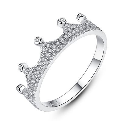 Beautiful CZ Crown 925 Sterling Silver Ring Women