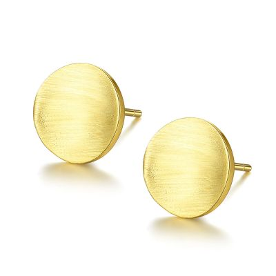 Simple Round Concave 925 Sterling Silver Studs Earrings