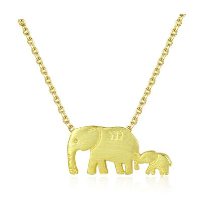 Cute Animal Mother Child Elephant 925 Sterling Silver Necklace