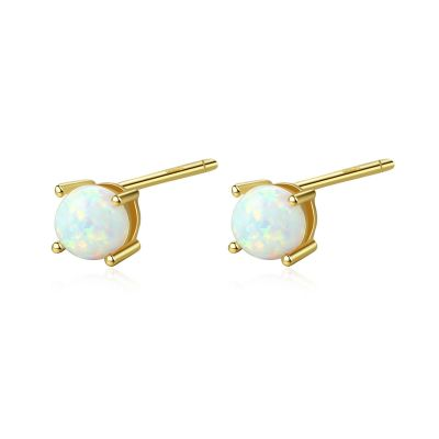 Cute Round Created Opal 925 Sterling Silver Studs Earrings