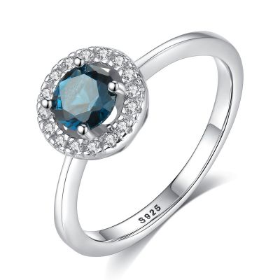 New Round Created Gemstone CZ 925 Sterling Silver Ring