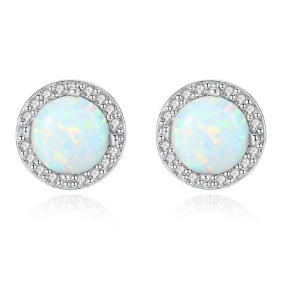 Beautiful Round CZ Created Opal 925 Sterling Silver Studs Earrings