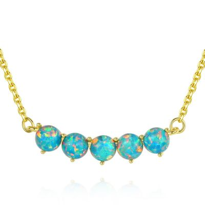 Classic Created Opal Beads 925 Sterling Silver Necklace
