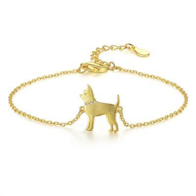 Smart Animal Dog CZ 925 Sterling Silver Bracelet