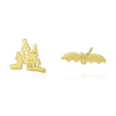 Asymmetric Bats Castle 925 Sterling Silver Studs Earrings